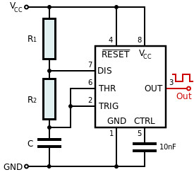 Figure 2. The 555 timer circuit in astable mode.